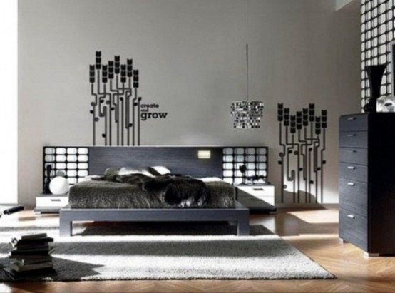 wall decals is a great way to add a futuristic touch to a bedroom - Stylish Bedroom Design