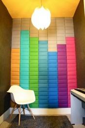 super colorful soundproofing panels on the wall imitate the sound – ideal for a musical room