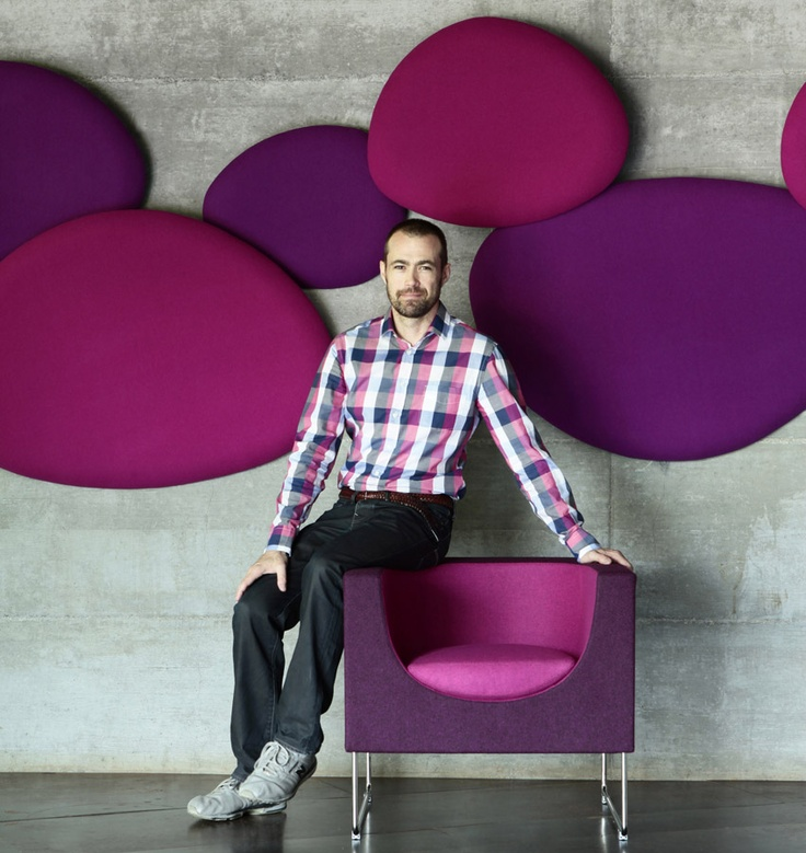 bold purple and fuchsia oval acoustic panels will add color to the space and make it bolder