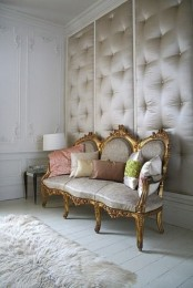 silk upholstered and tufted walls are a very interesting decor idea that features sound proofing at the same time