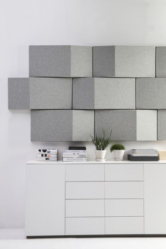 modern grey geometric acoustic panels add a chic touch to the space and make it soundproof