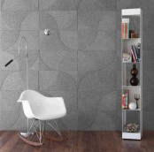 grey soundproofing panels with a pattern make the space more contemporary and eye-catching