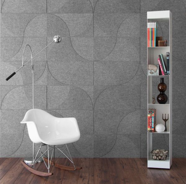 grey soundproofing panels with a pattern make the space more contemporary and eye catching