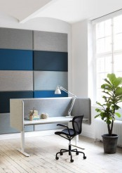 stylish teal and grey wall acoustic tiles will make your room sound-proofed and contemporary