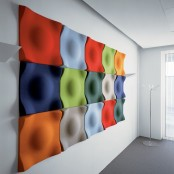 colorful and sculptural acoustic wall panels will make your space very eye-catchy