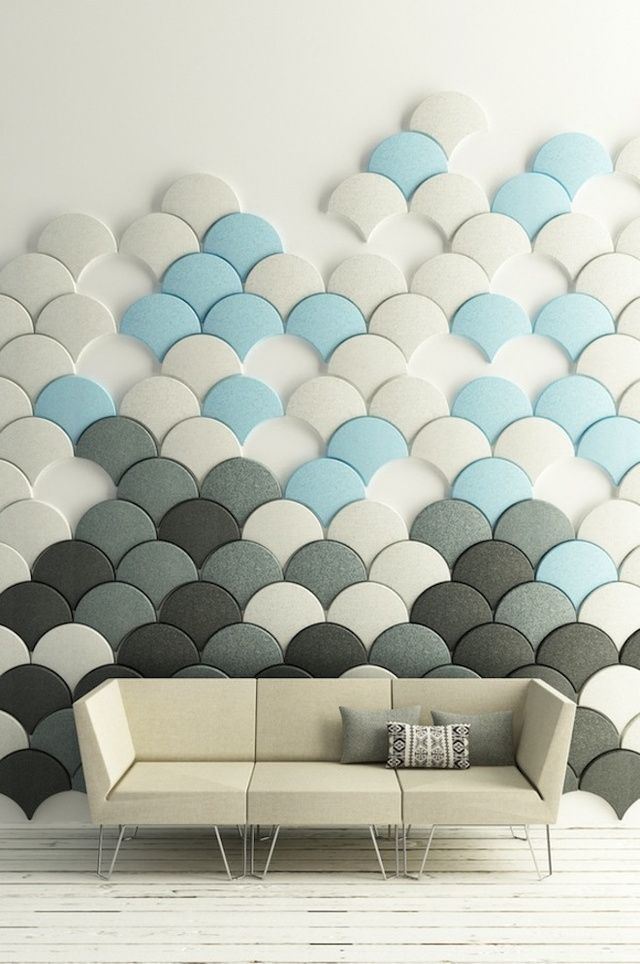 catchy neutral, grey and blue acoustic fish scale panels that makes up a whole wall art
