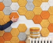 colorful hex acoustic tiles are great to sound proof the wall and make it bold and catchy