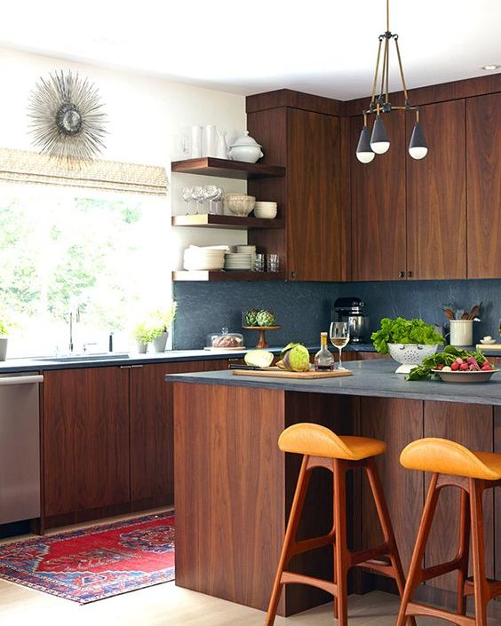 Picture of stylish andatmospheric mid century modern for Mid century modern kitchen cabinets