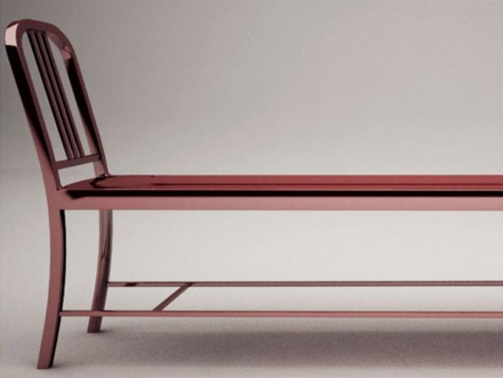 stylish bench re edition of navy chair