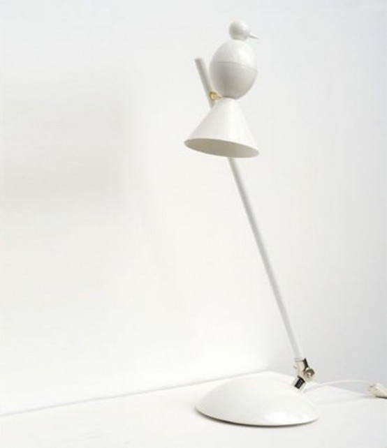 Stylish Black And White Lamps In Shape Of Birds