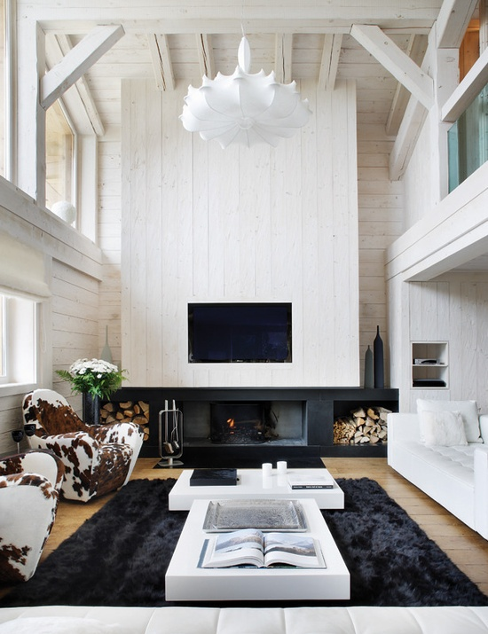 Stylish Black And White Mountain Chalet