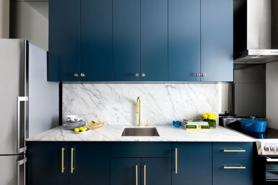 Stylish Blue And Gold Kitchen Design With Marble
