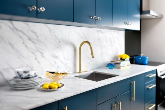 Stylish Blue And Gold Kitchen Design