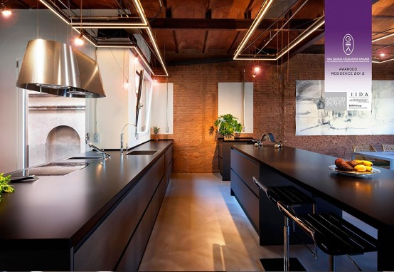 Stylish Dark Kitchen Design With Industrial Touches