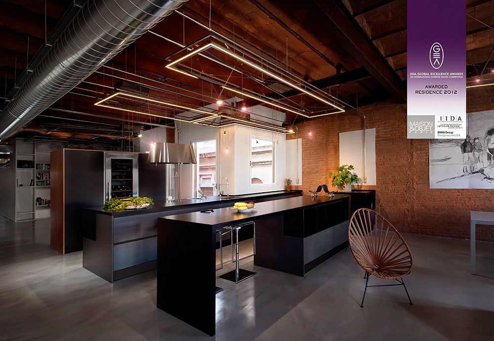 Stylish dark kitchen design with industrial touches digsdigs for Industrial modern kitchen designs