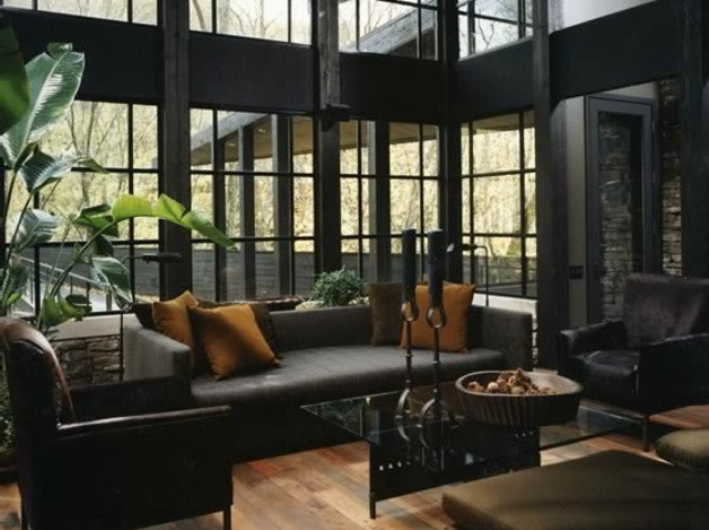 36 stylish dark living room designs digsdigs for Living room ideas black