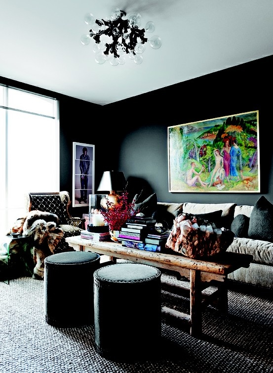 Stylish Dark Living Room Designs