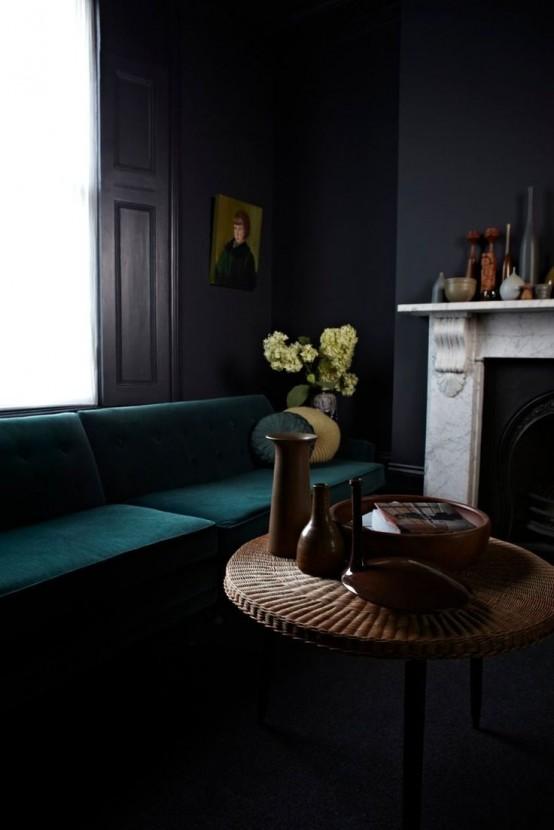 36 stylish dark living room designs digsdigs for Modern victorian living room designs
