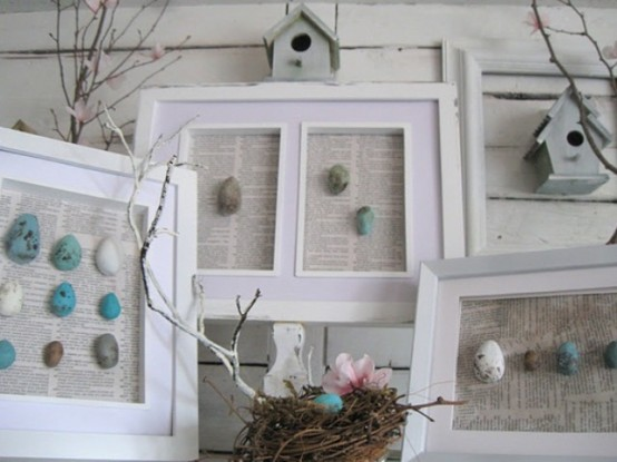 colorful faux egg artworks, a fake nest and branches for vintage styling of your mantel