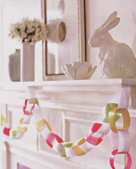 a colorful paper chain garland, an egg artwork and a porcelain bunny for an Easter touch