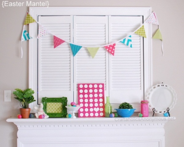 a colorful paper bunting, colorful faux eggs, bottles and jars