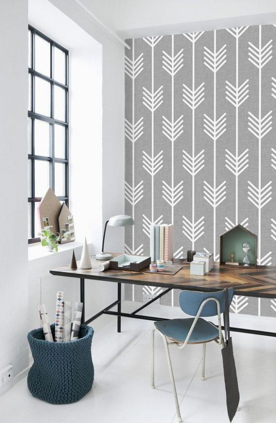 27 stylish geometric home office d cor ideas digsdigs for Wallpaper design for office wall