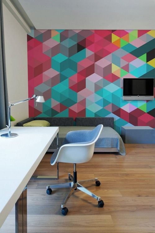 24 stylish geometric wall d cor ideas digsdigs for Wallpaper design for office wall