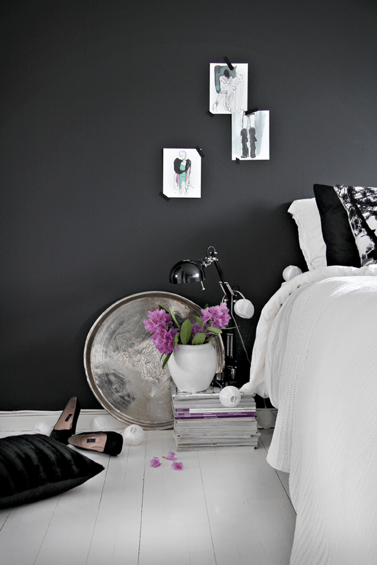 Stylish Girlish Bedroom With Black Walls