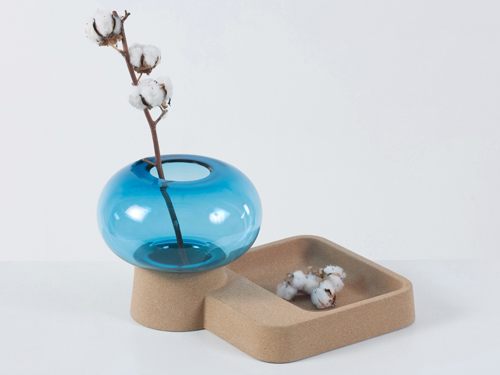 Stylish Blown Glass Vase With The Catch-All Cork Tray