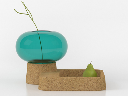 Stylish Glass Vase With Cork Tray