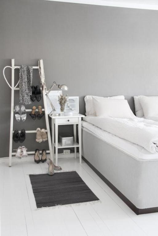 Stylish Grey Girl Bedroom Design With A Shoes Ladder