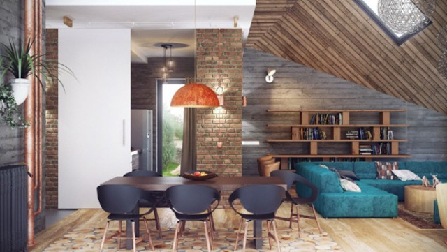 Stylish industrial loft design in wood brick and concrete for Brick and wood home designs