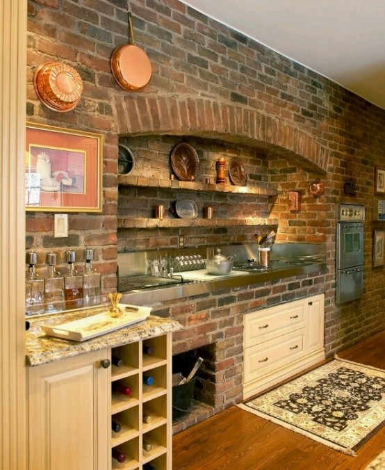 74 stylish kitchens with brick walls and ceilings digsdigs for Pietre decorative bricoman
