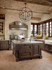 a red brick ceiling plus a stone cooker backsplash make up a cool combo for a vintage rustic kitchen
