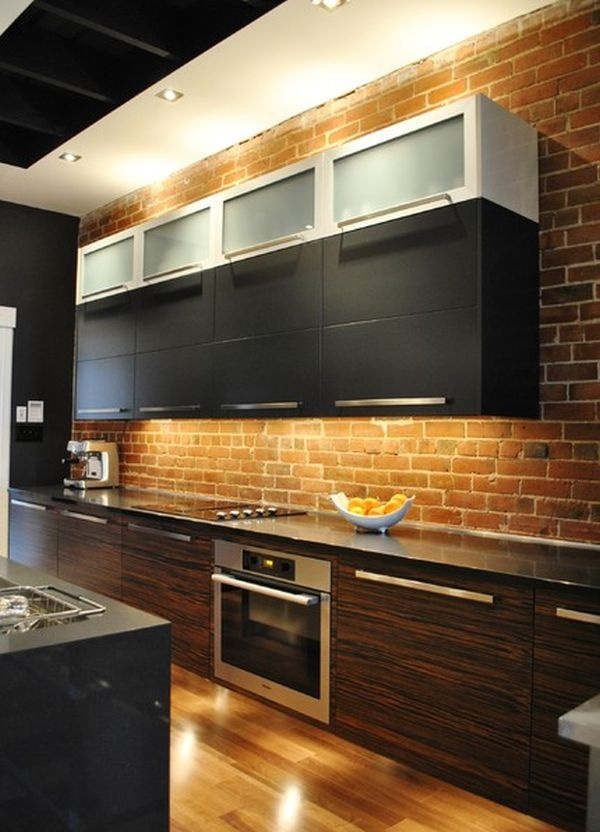 74 stylish kitchens with brick walls and ceilings digsdigs for 2 wall kitchen designs