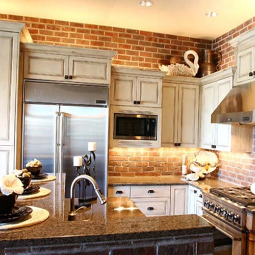 74 stylish kitchens with brick walls and ceilings digsdigs for Kitchen bricks design