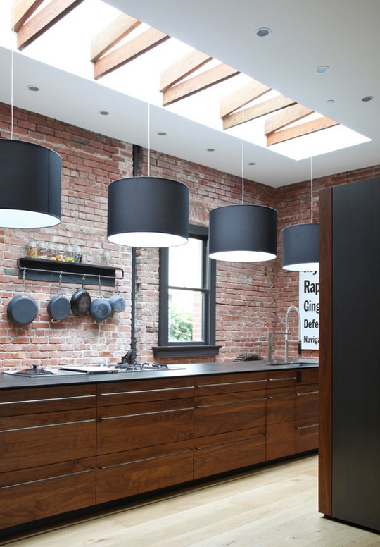 95 Stylish Kitchens With Brick Walls And Ceilings - DigsDigs