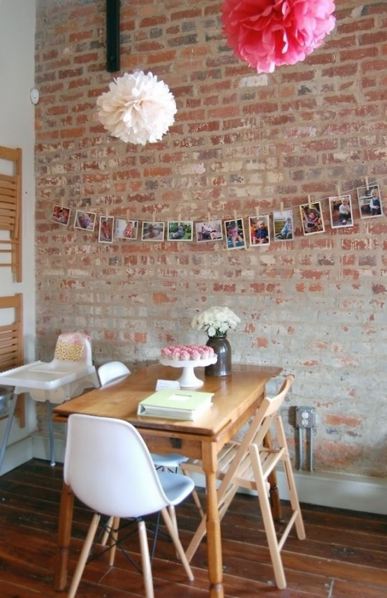 an old brick wall makes your dining space catchy, interesting and bold at the same time