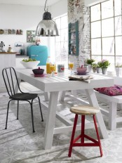 whitewashed brick adds a nonchalant feel and makes the whole space more distressed and relaxed