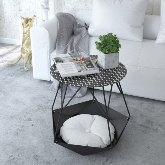 Stylish Krater Side Table With A Space For Cats