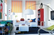 Stylish Living Room With Colorful Roman Blinds