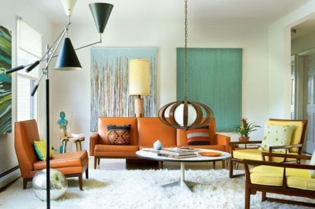 colorful mid century modern living room with catchy lamps and a fluffy rug create a chic mid century modern ambience