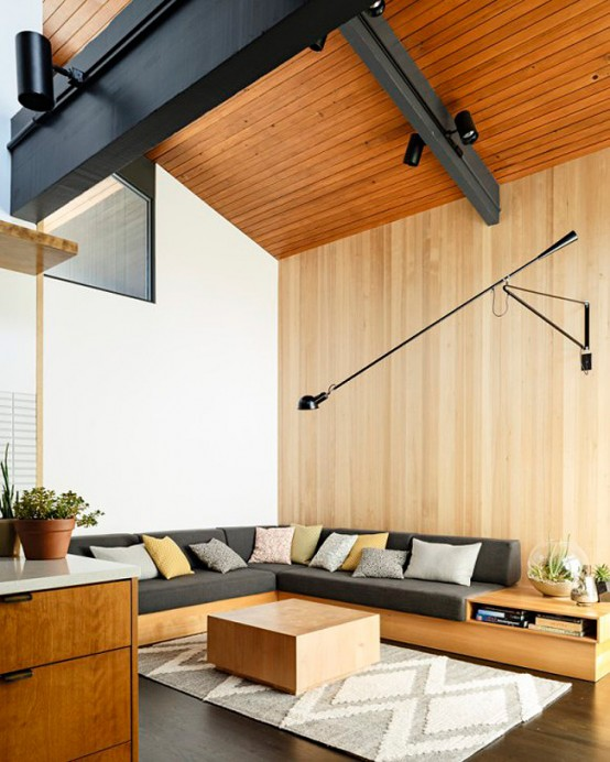 Stylish Mid Century Modern House With Warm Colored Wood Decor