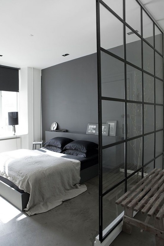 34 stylishly minimalist bedroom design ideas digsdigs for Minimalist black and white bedroom