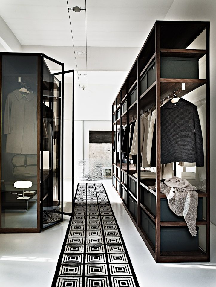 a minimalist closet done with dark stained wooden shelves, a glass armoire and a graphic rug
