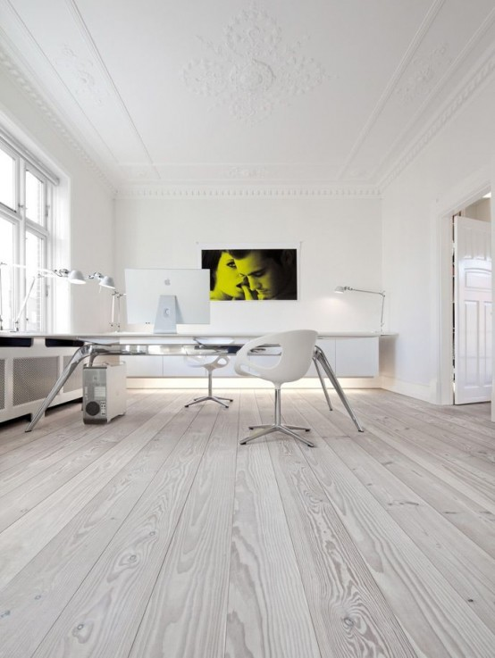 37 stylish super minimalist home office designs digsdigs - Grey wood floors modern interior design ...
