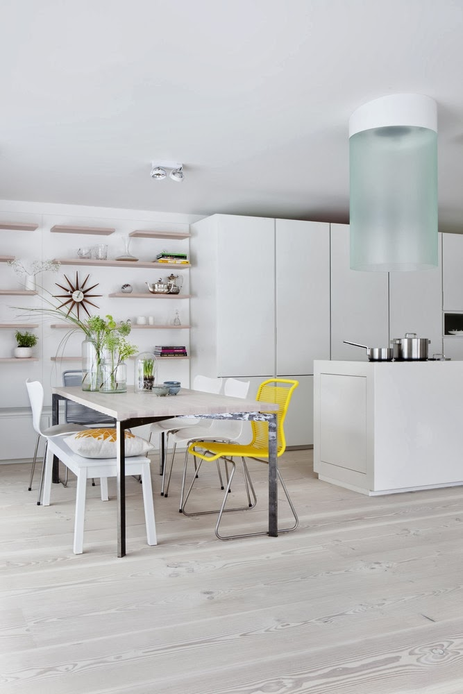 Stylish Minimalist Kitchen With Bright Yellow Accents | DigsDigs