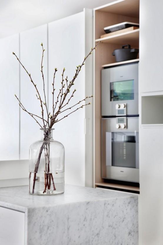 Stylish Minimalist Kitchen With Bright Yellow Accents