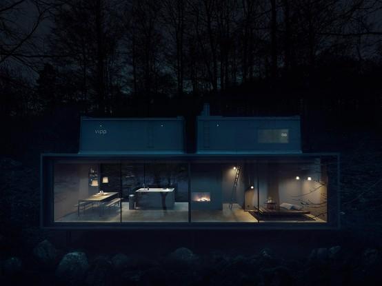Stylish Minimalist Prefab Home In Dark Shade