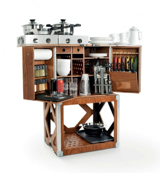 Stylish Mobile Space Saving Kitchen In A Box